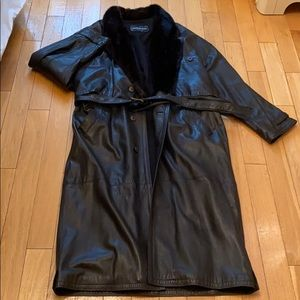 100% authentic leather and wool coat XL